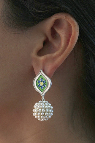 Exquisite seed pearl earrings with enamel work (PB-9179-ER)  Earrings Sterling silver handcrafted jewellery. 925 pure silver jewellery. Earrings, nose pins, rings, necklaces, cufflinks, pendants, jhumkas, gold plated, bidri, gemstone jewellery. Handmade in India, fair trade, artisan jewellery.