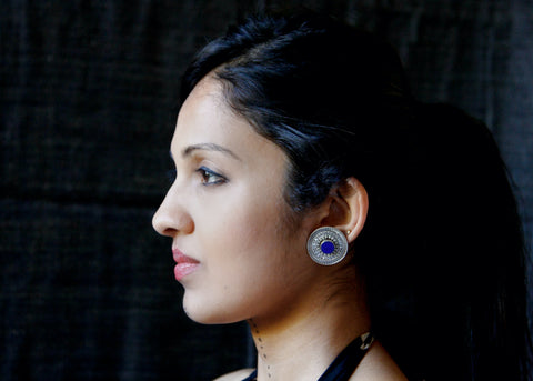 Stunning, detachable lapis earrings that can be worn 4 ways  Earrings Sterling silver handcrafted jewellery. 925 pure silver jewellery. Earrings, nose pins, rings, necklaces, cufflinks, pendants, jhumkas, gold plated, bidri, gemstone jewellery. Handmade in India, fair trade, artisan jewellery.