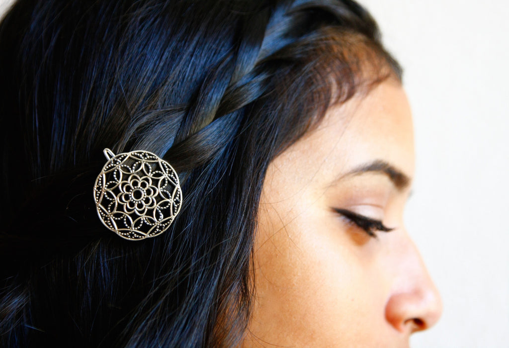 Exquisite circular jali work hair clip (PB-1002-HO)  Hair ornament Lai designer sterling silver 925 jewelry that is global culture inspired artisanal handcrafted handmade contemporary sustainable conscious fair trade online brand shop
