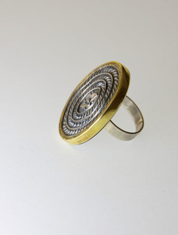 Stunning, Thappa (stamped) oval ring with contrasting gold plated frame  Ring Sterling silver handcrafted jewellery. 925 pure silver jewellery. Earrings, nose pins, rings, necklaces, cufflinks, pendants, jhumkas, gold plated, bidri, gemstone jewellery. Handmade in India, fair trade, artisan jewellery.