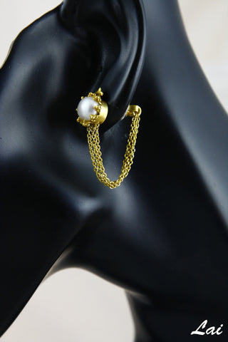 Dreamy Grecian hanging chains & pearl gold plated earrings (PB-2166-ER)