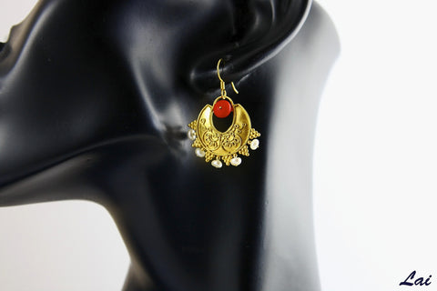 Stunning Greek inspired coral and pearl gold plated earrings (PB-2206-ER)