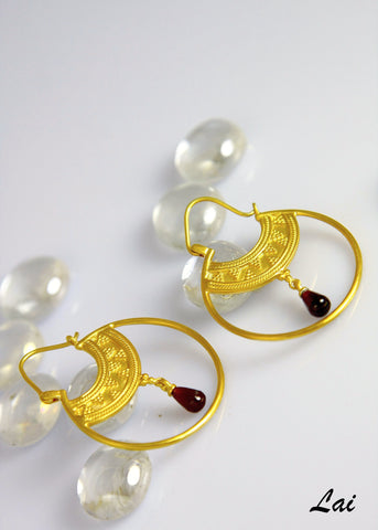 Stunning, Hellenic, gold-plated hoops with a gemstone drop  Earrings Sterling silver handcrafted jewellery. 925 pure silver jewellery. Earrings, nose pins, rings, necklaces, cufflinks, pendants, jhumkas, gold plated, bidri, gemstone jewellery. Handmade in India, fair trade, artisan jewellery.