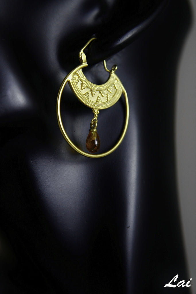 Stunning Hellenic gold plated hoops with a gemstone drop (PB-2167-ER) -  - 3