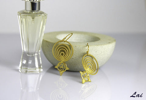 Delicate, Greek-inspired, concentric, filigree, gold-plated earrings  Earrings Sterling silver handcrafted jewellery. 925 pure silver jewellery. Earrings, nose pins, rings, necklaces, cufflinks, pendants, jhumkas, gold plated, bidri, gemstone jewellery. Handmade in India, fair trade, artisan jewellery.
