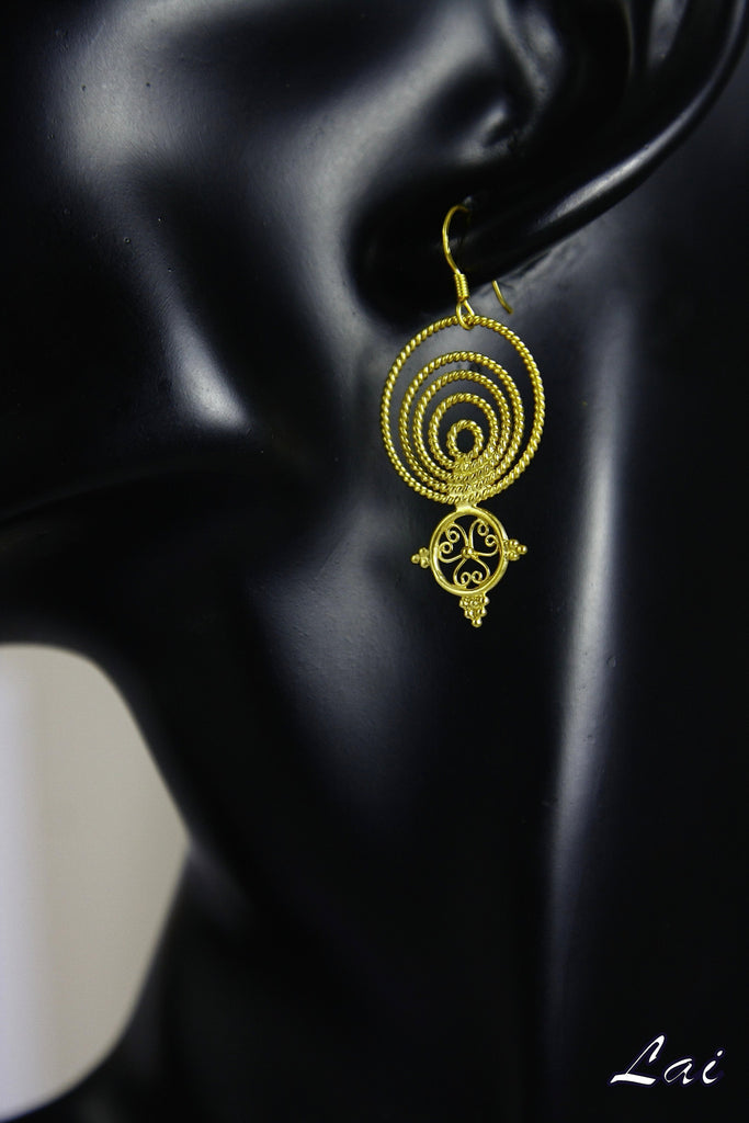 Delicate Greek inspired concentric filigree gold plated earrings (PB-2169-ER)  Earrings Sterling silver handcrafted jewellery. 925 pure silver jewellery. Earrings, nose pins, rings, necklaces, cufflinks, pendants, jhumkas, gold plated, bidri, gemstone jewellery. Handmade in India, fair trade, artisan jewellery.