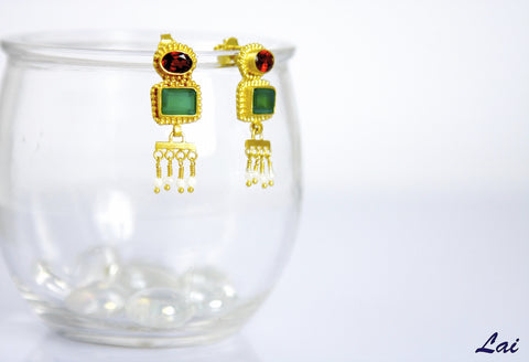 Gorgeous, Hellenic, garnet and chrysoprase gold-plated earrings with pearl fringe