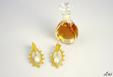 Elegant Grecian oval gold plated earrings with a center pearl drop (PB-2175-ER)  Earrings Sterling silver handcrafted jewellery. 925 pure silver jewellery. Earrings, nose pins, rings, necklaces, cufflinks, pendants, jhumkas, gold plated, bidri, gemstone jewellery. Handmade in India, fair trade, artisan jewellery.