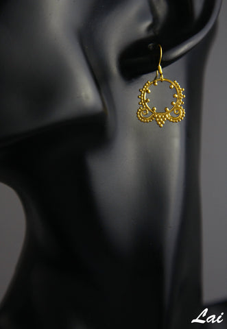 Delicate small Hellenic gold plated rava and wire work earrings (PB-2172-ER)