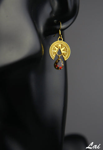 Stunning, granulation work, Grecian, gold-plated earrings with a garnet drop