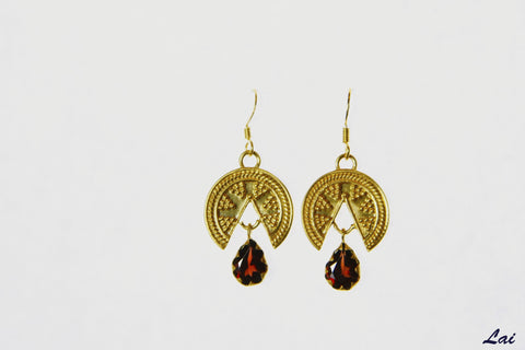 Stunning Grecian gold plated garnet drop from a wedge earrings (PB-2173-ER)  Earrings Sterling silver handcrafted jewellery. 925 pure silver jewellery. Earrings, nose pins, rings, necklaces, cufflinks, pendants, jhumkas, gold plated, bidri, gemstone jewellery. Handmade in India, fair trade, artisan jewellery.