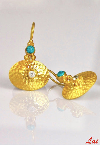 Chic Greek inspired gold plated oval earrings with turquoise (PB-2170-ER)  Earrings Sterling silver handcrafted jewellery. 925 pure silver jewellery. Earrings, nose pins, rings, necklaces, cufflinks, pendants, jhumkas, gold plated, bidri, gemstone jewellery. Handmade in India, fair trade, artisan jewellery.
