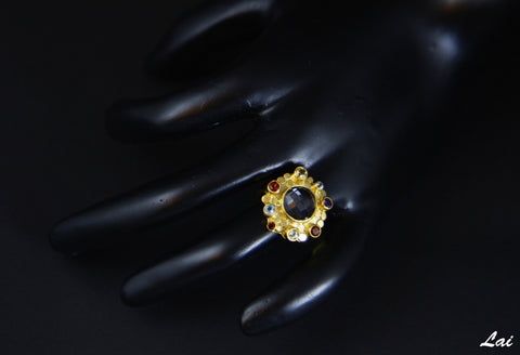 Beautiful facetted rock crustal and multi colour gemstone gold plated ring (PB-1372-R)