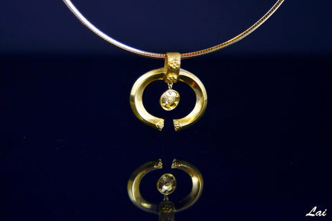 Beautiful and unique, Greek-inspired, open oval gold-plated pendant