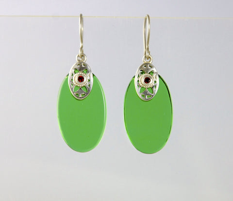 Elegant green glass oval earrings with silver & garnet detailing (PBS-4159-ER)  Earrings Sterling silver handcrafted jewellery. 925 pure silver jewellery. Earrings, nose pins, rings, necklaces, cufflinks, pendants, jhumkas, gold plated, bidri, gemstone jewellery. Handmade in India, fair trade, artisan jewellery.
