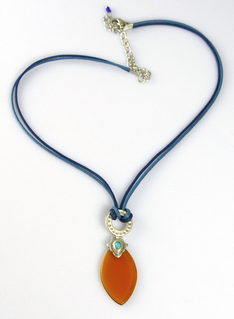 Artistic navette shape amber colour glass pendant on contrasting blue cord (PBS-4167)  Necklace, Pendant Lai designer sterling silver 925 jewelry that is global culture inspired artisanal handcrafted handmade contemporary sustainable conscious fair trade online brand shop