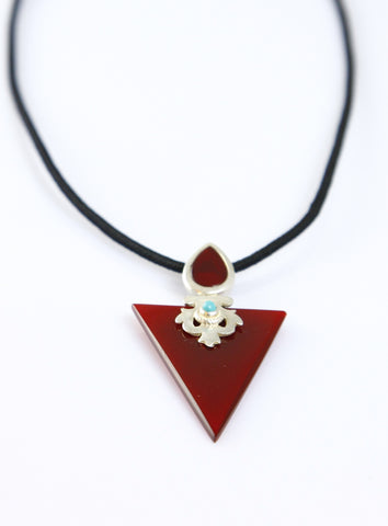 Chic maroon colour glass triangular pendant with silver & turquoise detailing (PBS-4006)  Necklace, Pendant Sterling silver handcrafted jewellery. 925 pure silver jewellery. Earrings, nose pins, rings, necklaces, cufflinks, pendants, jhumkas, gold plated, bidri, gemstone jewellery. Handmade in India, fair trade, artisan jewellery.