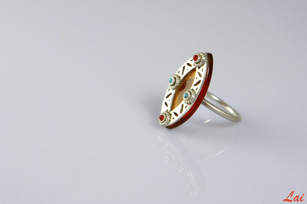 Artistic chic navette shape amber glass ring with silver, turquoise & carnelian accents (PBS-4148-R)  Ring Lai designer sterling silver 925 jewelry that is global culture inspired artisanal handcrafted handmade contemporary sustainable conscious fair trade online brand shop