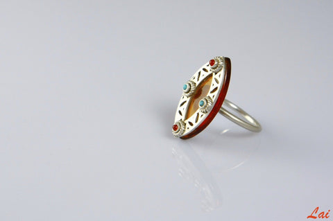 Artistic chic navette shape amber glass ring with silver, turquoise & carnelian accents (PBS-4148-R)