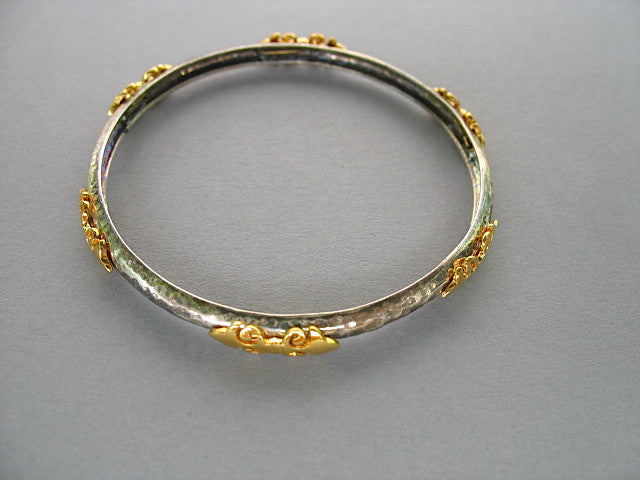 Beautiful elegant dual tone bangles in hammer finish with gold plated detailing (PB-1454-B)  Bangles Lai designer sterling silver 925 jewelry that is global culture inspired artisanal handcrafted handmade contemporary sustainable conscious fair trade online brand shop
