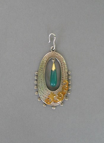 Gorgeous long oval 2 tone earrings in hammer finish with gold plated detailing & chrysoprase drop (PB-1456-ER) - Lai