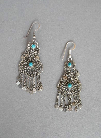 Exquisite Kashmiri long earrings with turquoise accents & fringe (PB-1472-ER) - Lai