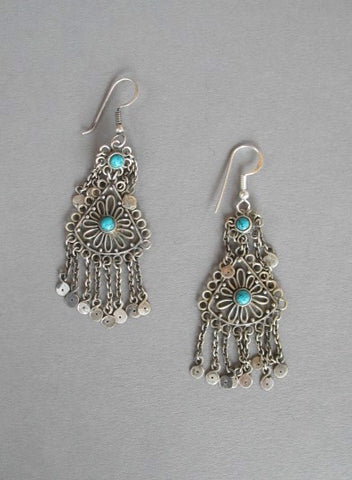 Exquisite Kashmiri long earrings with turquoise accents & fringe (PB-1472-ER)