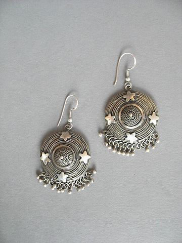 Dramatic, big, round, statement Kashmiri earrings with intricate wire-work  Earrings Sterling silver handcrafted jewellery. 925 pure silver jewellery. Earrings, nose pins, rings, necklaces, cufflinks, pendants, jhumkas, gold plated, bidri, gemstone jewellery. Handmade in India, fair trade, artisan jewellery.