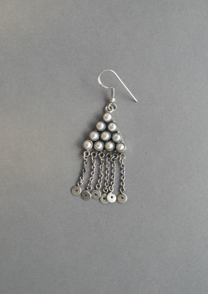 Ethereal Kashmiri triangular pearl fringe earrings (PB-1480-ER) - Lai - 1