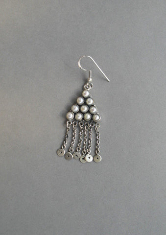 Ethereal Kashmiri triangular pearl fringe earrings (PB-1480-ER)