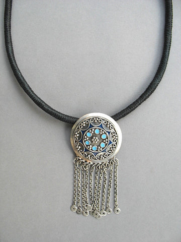 Beautiful, Kashmiri, round blue enamel-work pendant with a fringe  Necklace, Pendant Sterling silver handcrafted jewellery. 925 pure silver jewellery. Earrings, nose pins, rings, necklaces, cufflinks, pendants, jhumkas, gold plated, bidri, gemstone jewellery. Handmade in India, fair trade, artisan jewellery.