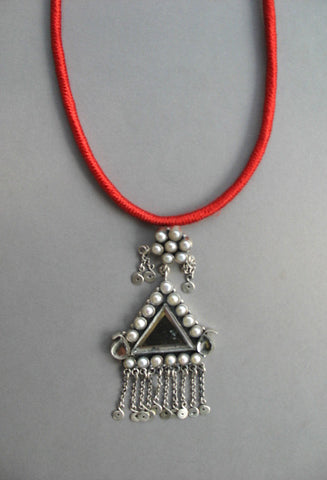 Exquisite triangular mirror & pearls long Kashmiri pendant with fringe (PB-1482)
