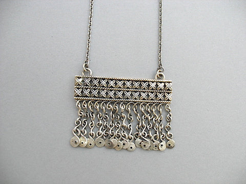 Stunning Kashmiri tribal rectangular fringe pendant necklace (PB-1486-N)