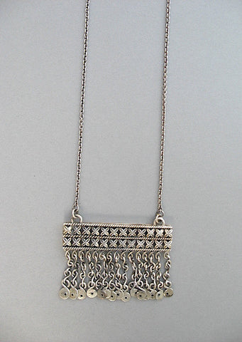 Stunning, Kashmiri, neo-tribal, rectangular fringe pendant necklace  Necklace, Pendant Sterling silver handcrafted jewellery. 925 pure silver jewellery. Earrings, nose pins, rings, necklaces, cufflinks, pendants, jhumkas, gold plated, bidri, gemstone jewellery. Handmade in India, fair trade, artisan jewellery.