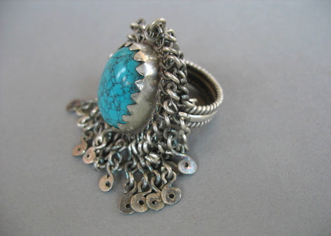 Conversation starting unique fringe surrounded turquoise Kashmiri statement ring (PB-1493-R)