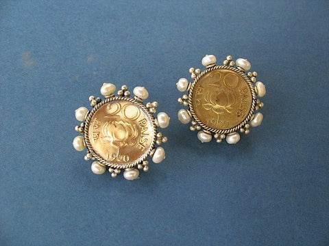 Glamorous vintage Indian coin studs with pearls (PB-1504-ER)  Earrings Sterling silver handcrafted jewellery. 925 pure silver jewellery. Earrings, nose pins, rings, necklaces, cufflinks, pendants, jhumkas, gold plated, bidri, gemstone jewellery. Handmade in India, fair trade, artisan jewellery.