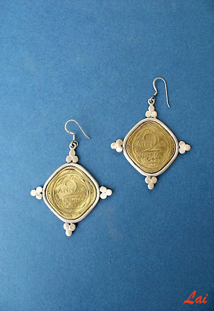 Statement big coin earrings (PB-1507-ER) - Lai