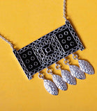 Stunning bohemian rectangular pendant necklace with fine black enamel work (PB-4869-P) - Lai - 3