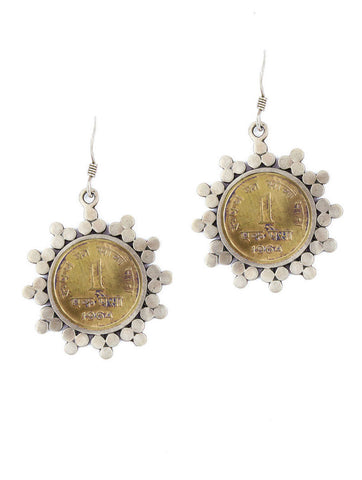 Dainty, vintage coin earrings  Earrings Sterling silver handcrafted jewellery. 925 pure silver jewellery. Earrings, nose pins, rings, necklaces, cufflinks, pendants, jhumkas, gold plated, bidri, gemstone jewellery. Handmade in India, fair trade, artisan jewellery.