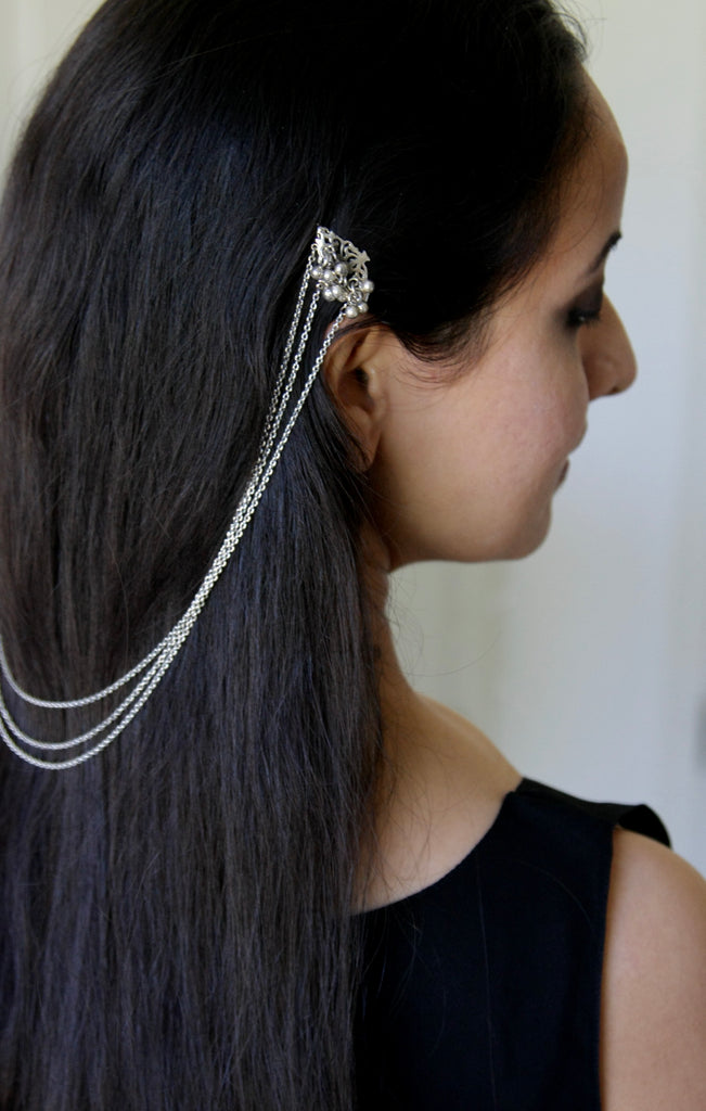 Stunning, conversation-starting, traditional, Indian clipped chain hair ornament  Hair ornament Sterling silver handcrafted jewellery. 925 pure silver jewellery. Earrings, nose pins, rings, necklaces, cufflinks, pendants, jhumkas, gold plated, bidri, gemstone jewellery. Handmade in India, fair trade, artisan jewellery.