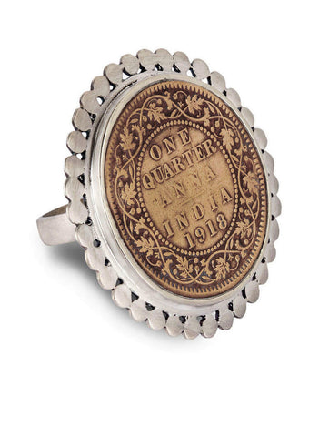 Dramatic, vintage Indian-coin ring with a silver border  Ring Sterling silver handcrafted jewellery. 925 pure silver jewellery. Earrings, nose pins, rings, necklaces, cufflinks, pendants, jhumkas, gold plated, bidri, gemstone jewellery. Handmade in India, fair trade, artisan jewellery.