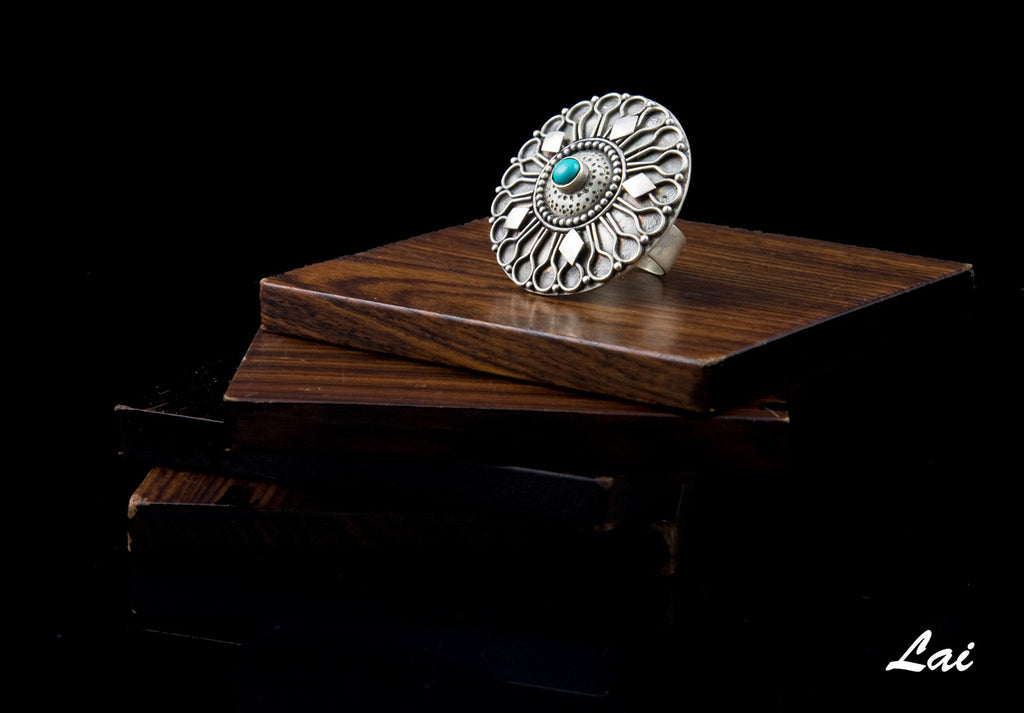 Dramatic Kashmiri big round turquoise studded statement ring (PB-1489-R) -  - 1