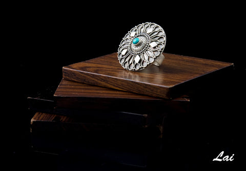Dramatic Kashmiri big round turquoise studded statement ring (PB-1489-R)