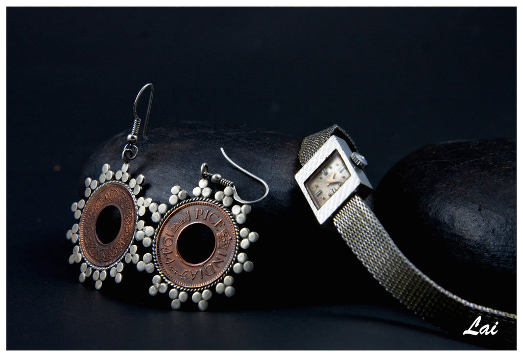 Exquisite coin earrings with delicate silver work (PB-1500-ER) -  - 1
