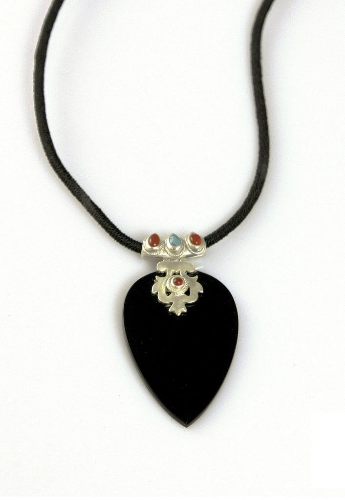 Stunning black glass statement pendant with silver, turquoise & carnelian detailing (PBS-4007) - Lai - 1