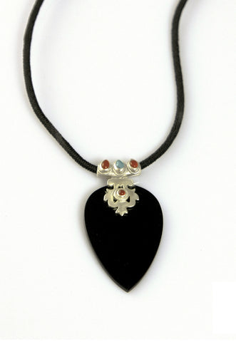 Stunning black glass statement pendant with silver, turquoise & carnelian detailing (PBS-4007)