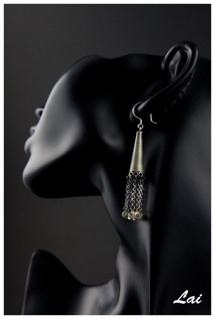 Exquisite Kashmiri long conical wire wrapped earrings with fringe (PB-1473-ER) -  - 1