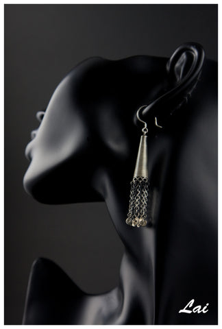 Exquisite, long, conical, wire-wrapped kashmiri earrings with fringe