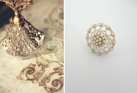 Dramatic pearl encrusted filigree round ring (PB-9057-R)