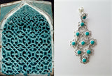 Beautiful flexible linked floral units Samarkand turquoise long earrings (PBS-3744-ER) - Lai - 1